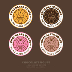 Chocolate house logo. Cupcakes and desserts emblem. Cafe label. Сupcakes and letters in a colorful circle on a brown background