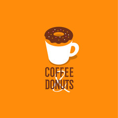 Coffee and donut. Cafe emblem. Cup and donut on a yellow background.