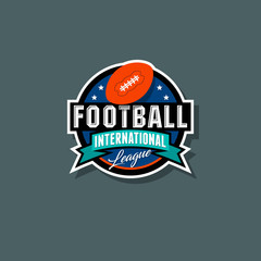 American Football logo. American Football emblem. Ball in the circle with ribbon and stars.