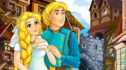 Cartoon scene of beautiful princess and prince in the old town - castle in the background - illustration for children