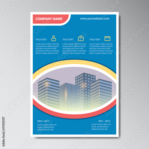 company brochure design template with icon placeholder and building