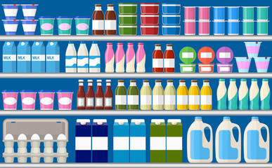 Showcase fridge for cooling dairy products.