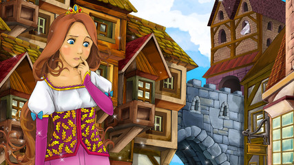 Cartoon scene of beautiful princess in the old town - castle in the background - illustration for children
