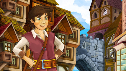 Cartoon scene of beautiful prince in the old city - castle in the background - illustration for children