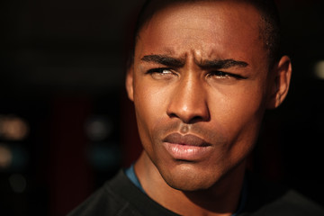 Close up portrait of a handsome young african man