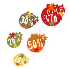Button Set mit Herbstpreisen und Prozentzeichen