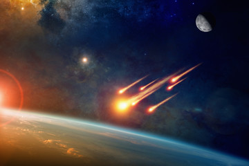 Wall Mural - Group of burning exploding asteroids approaches to planet Earth