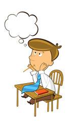 office cartoon clerk sitting thinking and having idea - with empty cloud for text - isolated