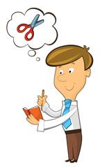 office cartoon clerk standing thinking - illustration for children