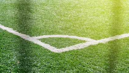 Corner of the soccer football field. Artificial grass
