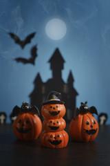 Halloween pumpkins jack-o-lantern on dark blue background. Halloween pumpkin background. Halloween. jack-o-lantern. Halloween jack-o-lantern. Happy Halloween.