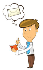 office cartoon clerk standing thinking about sending some mail - illustration for children