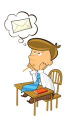 office cartoon clerk sitting and thinking about sending some mail - illustration for children