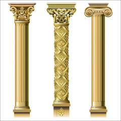 Set of classic gold columns