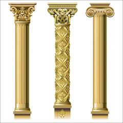 Set of classic gold columns