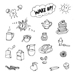 Doodle good morning, milk, tea, eggs, pancakes, tea