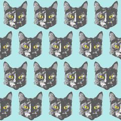 Cats pattern. Cartoon seamless animal wallpaper