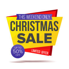 Xmas Special Offer Sale Banner Vector. Holidays Sale Announcement. Isolated On White Illustration