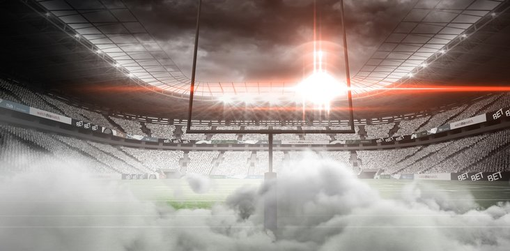 Digital image of goal post at American football stadium