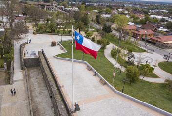Bandera de Chile en parque O´Higgins, Chillán