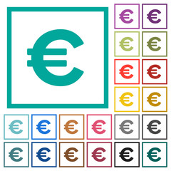 Euro sign flat color icons with quadrant frames