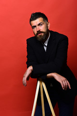 Man with beard wearing classic suit. Photography and profession concept