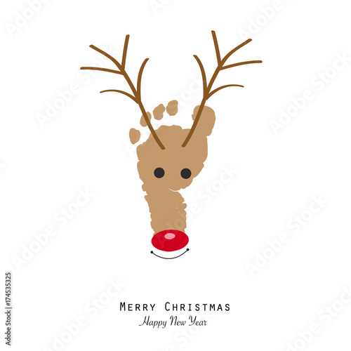 deer with baby foot print happy new year and merry christmas greeting card