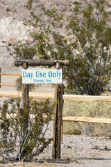 Day use only sign in a roadside rest ares in California