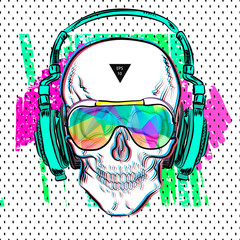 Print skull pop art style. Vector illustration EPS10. Design a poster for a t-shirt.