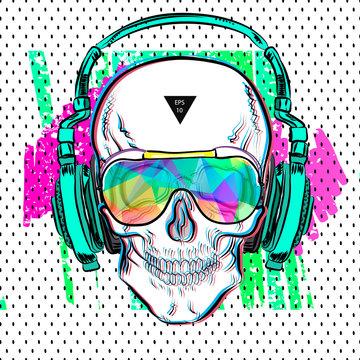 Print skull pop art style. Vector illustration EPS10. Design a poster for a t-shirt.