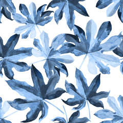 Seamless floral pattern with stylized watercolor exotic leaves of fastia Japonica. Jungle foliage, blue hues style on white background. Textile design.