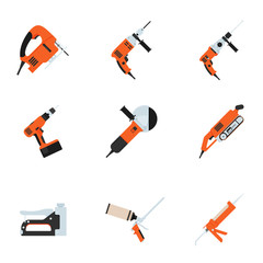 Set of building electrotools for repair. Vector illustration.