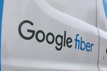 The back of a Google fiber instillation truck is pictures  Salt Lake City, Utah