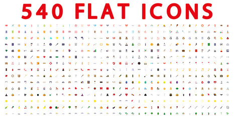 540 flat icons for web and mobile application. Vector illustration on a white background. Flat design style