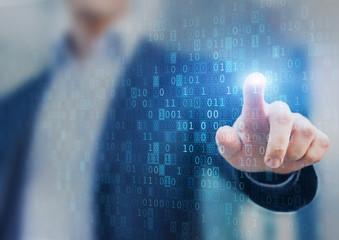 Big data statistics, business analytics concept, flow, binary code flow