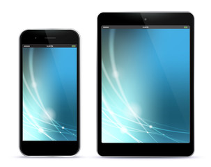 Black Mobile Phone and Tablet Computer Vector With Blue Technology Screen.