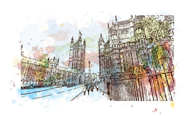 Watercolor sketch of Big Ben and houses of parliament London, UK (United Kingdom, England) in vector illustration.