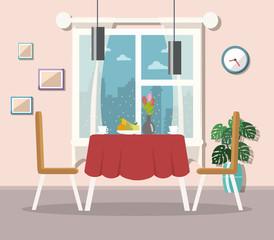 Dining room interior. Flat design.