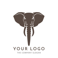 head elephant  brown logo sign emblem isolated