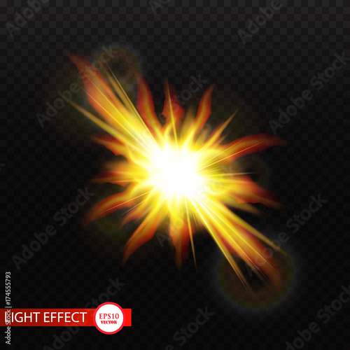Vector golden glowing lights on transparent background  Special