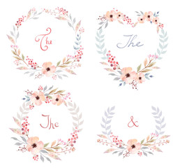 Vector Set of cute retro flowers arranged un a shape of the wreath perfect for wedding invitations and birthday cards
