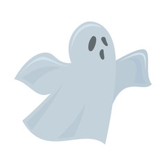 Ghost, colorful cartoon scary Halloween illustration Vector