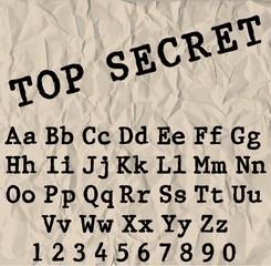 Vector typewriter font. Vintage grunge alphabet.