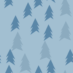 Christmas pattern with trees. Abstract winter forest. Simple background to print on fabric, paper, gift wrapping. Vector
