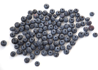 Blueberries Scattered Isolated White Background Texture Top View Healthy Food