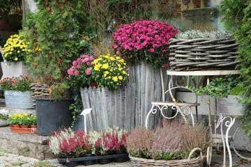 Autumn decorations in front of a flower shop, Herbstdekorationen vor einem Blumenladen