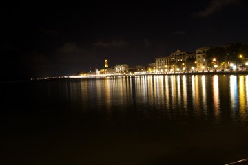 Lungomare Bari, Puglia, notturna