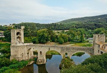 Bridge across EL Fluvia River in Besalu, Spain