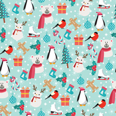 Christmas background with Santa Claus, snowman, bear, penguin
