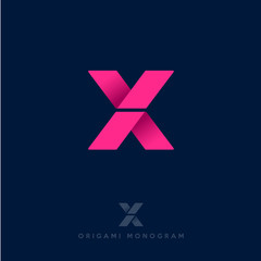 X logo. X origami letter.. Delivery logo.